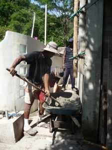 mixer to wheelbarrow to bucket to wheebarrow to site....
